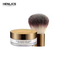 HENLICS 2pcs/set 24 Hour Long Lasting Velvet Loose Powder Concealer with Makeup Brush Oil control Loose Mineral Makeup Powder