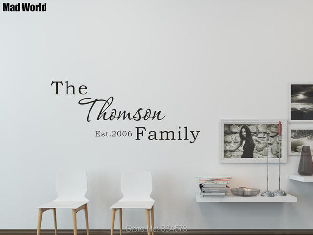 Personalized Your Family name Custom Family Name Wall Art Stickers ...