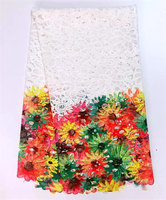 Top Quality African Embroidery Cord Lace Fabric Printing Beautiful Embroidered Guipure Lace Fabric For Party Dress