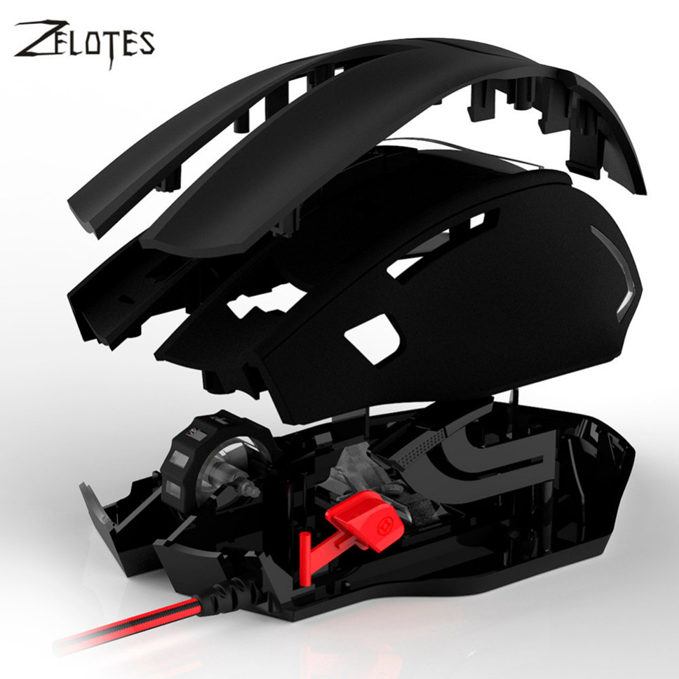 ZELOTES 2017 T10 7200 DPI 7 Buttons LED USB Optical Wired Mouse Self-defining Gaming Mouse Gamer for PC Laptop Computer Mouse