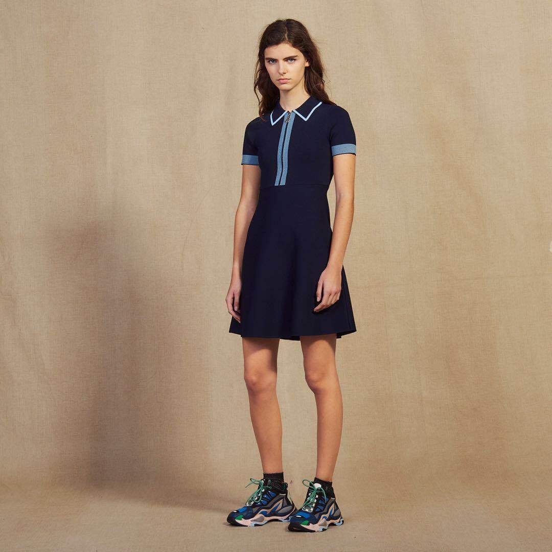 Women Dress 2019 Spring and Summer Slim Lapels Knit Short sleeved Dress