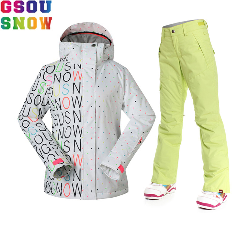 GSOU SNOW Brand Ski Suit Women Ski Jacket Pants Winter Waterproof Snowboard Clothes Mountain Skiing Suit Outdoor Sports Coat kupo vf 01