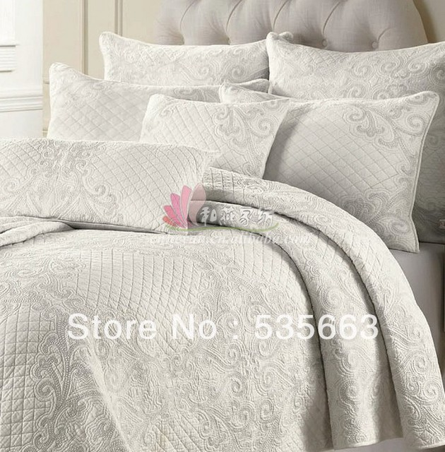 US 115 0 Free Shipping 100 Cotton Full Queen Size Quilted White Bedspread Sets Quilted Bed Cover Sets White Embroidered Bedspread Sets In Bedding