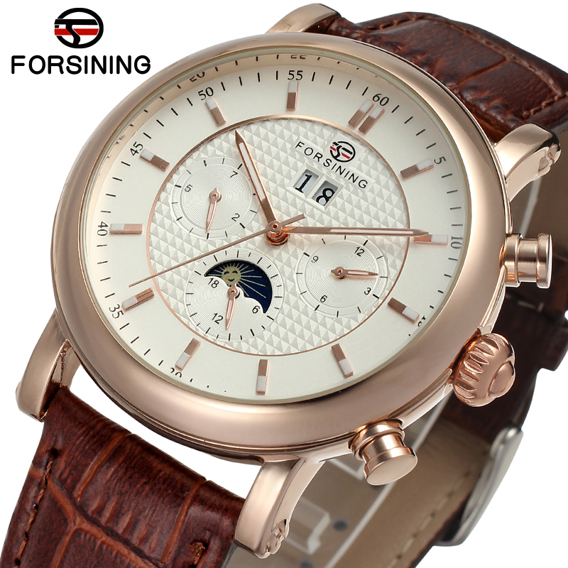 FSG553M3R1 latest luxur arrival Automatic with moon phase men watch brown genuine leather strap free shipping with gift box цена