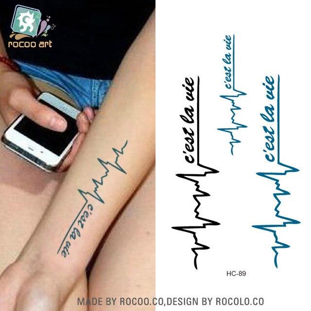 2 Blatter Erica Lange Ekg Alphabetisch Wasserdichte Tattoo Aufkleber