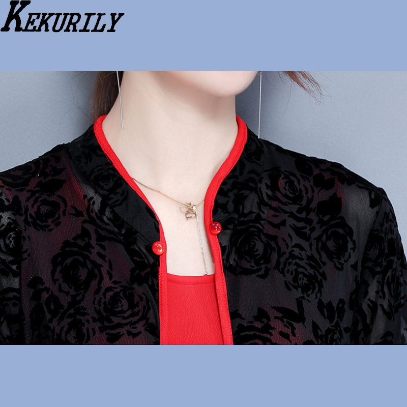 KEKURILY women dress suits cardigan plus size large 3xl dresses elegant vintage noble for feminine red black Chinese style in Dresses from Women 39 s Clothing