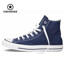 Original Converse all star de los hombres altos de las mujeres zapatillas de deporte zapatos de lona de Alta azul clásico Skateboarding Shoes envío gratis