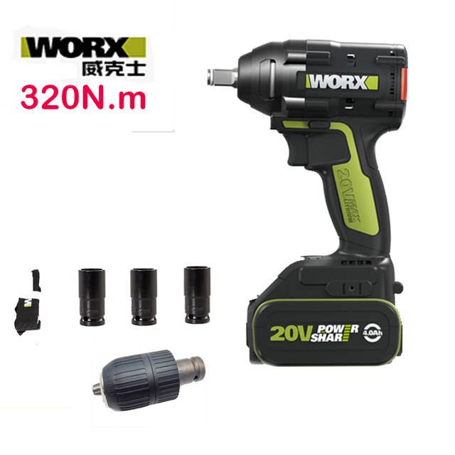 Placeholder Worx Professional Tool 20v Max Lith Ion Brushless Wu279 Electric Impact Wrench Torque 320n