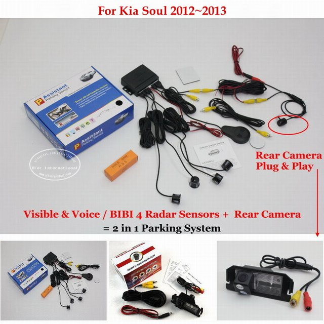 For Kia Soul 2012~2013 - Car Parking Sensors + Rear View Back Up Camera = 2 in 1 Visual / BIBI Alarm Parking System