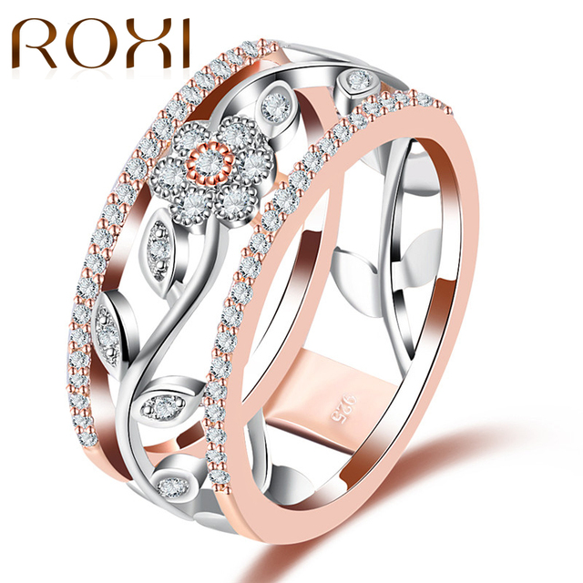 ROXI Geometric Crystal Ring Rose Gold Silver Color Flower Rings Wedding Engageme
