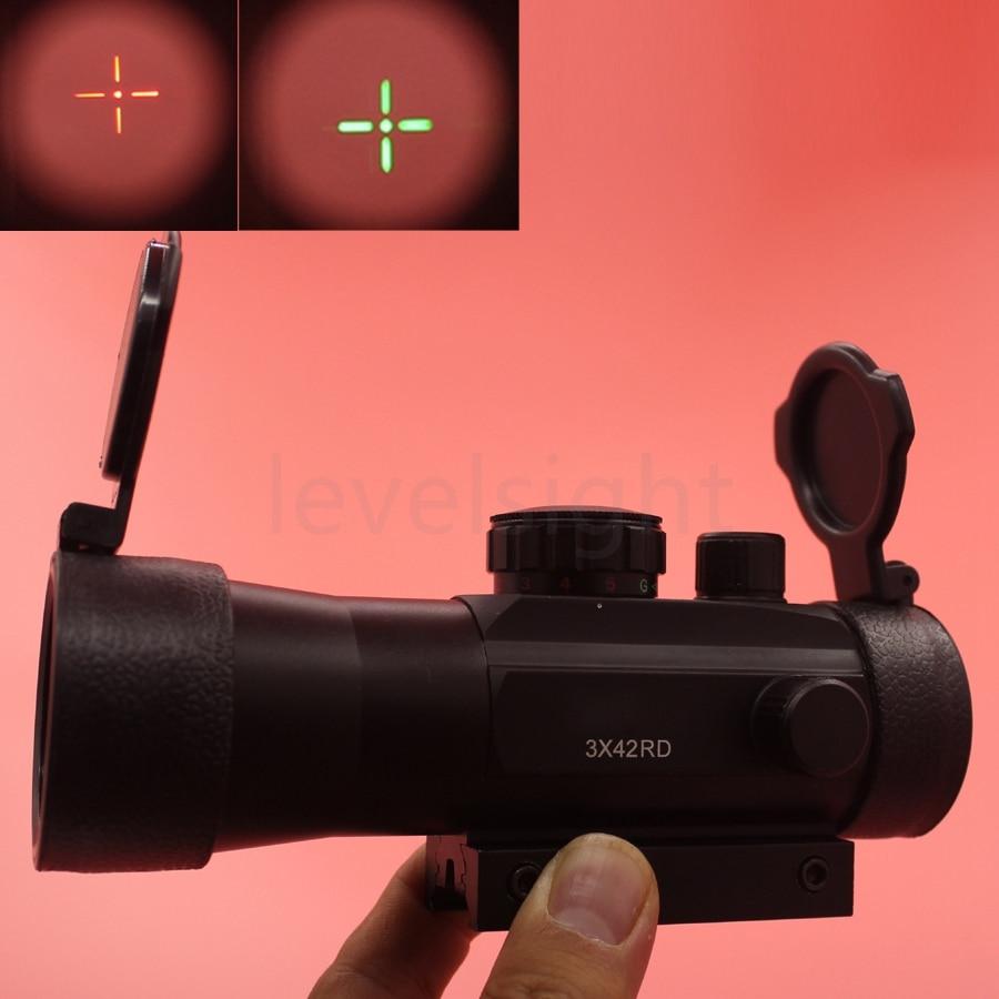 Red Dot Sight 3x42 <font><b>11mm</b></font>/20mm Rail Mounts Tactical Riflescope Sight Scope Hunting Green Red Dot Optical Telescopic For Airsoft Ri