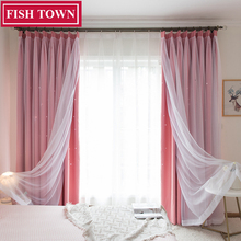 FISH TOWN Hollow Star Thermal Insulated Blackout Curtains for Living Room Bedroom Window Curtain Blind Stitched with white Voile norne hollow star thermal insulated blackout curtains for living room bedroom window curtain blinds stitched with white voile