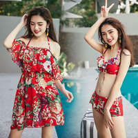 New 2017 Sexy Floral Print Bikini Set Swimwear Women Dress Swimsuit Bathing Suit Beach High Quality