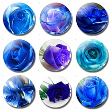 Blue Enchantress Glass Fridge Magnets Blooming Roses 30 MM Magnetic Refrigerator Stickers Memo Creative Home Decor