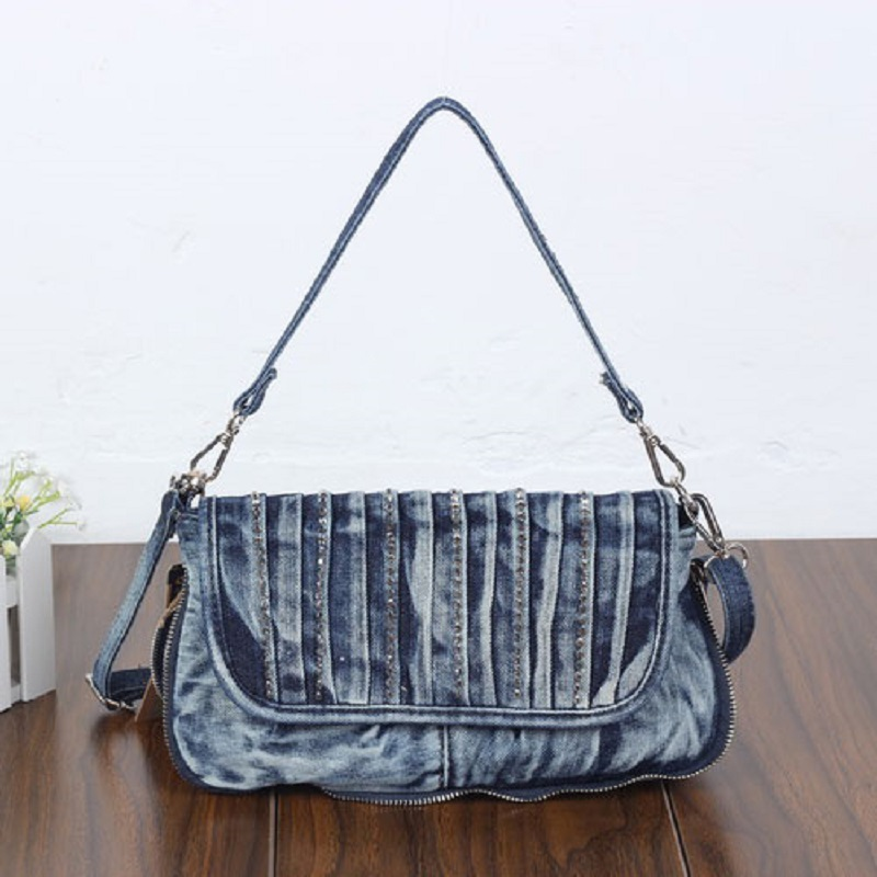 Vintage Fashion Diamonds Denim Jeans Shoulder Bags Girls Handbags Crossbody Bag Women Messenger Bags Purse bolsa