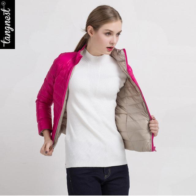 Tangnest reversível para baixo casaco 2017 moda inverno jaqueta curta das mulheres completo manga magro wwy362 extremamente macio