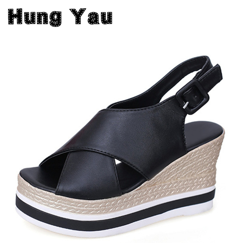 Hung Yau Shoes Woman Platform Sandals Casual Open Toe Gladiator Wedges Women Shoes Women Soft Leather Cross Strap zapatos mujer 2017 summer shoes woman platform sandals women soft leather casual open toe gladiator wedges women shoes zapatos mujer