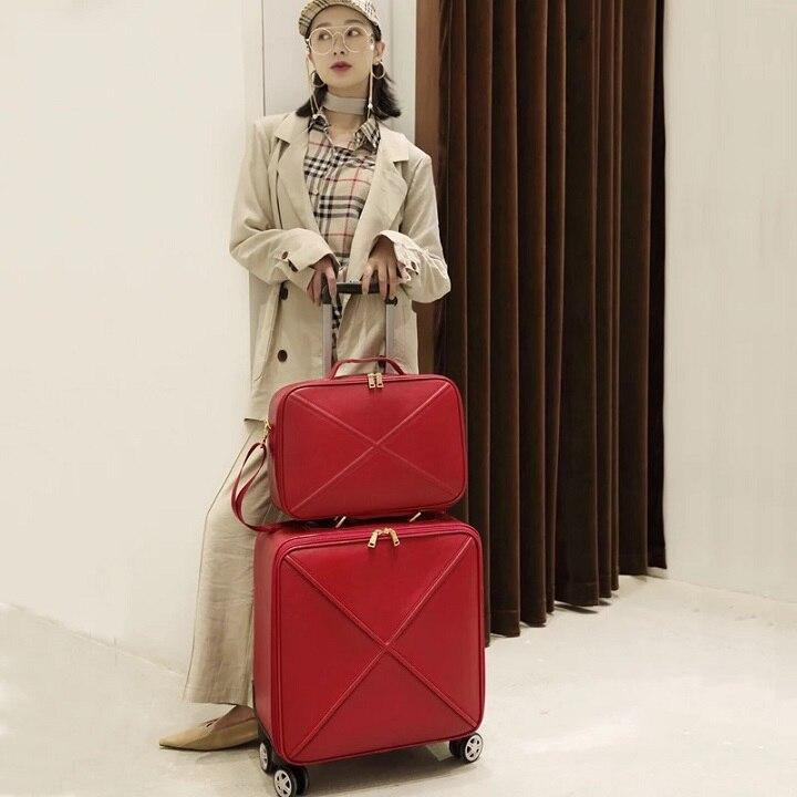 Модный чемодан на колесах с сумочкой в комплекте для женщин; классические деловые Дамский чемодан Спиннер посадки 16/18/20/24 дюйма, сумка для путешествий - Цвет: Red(set)