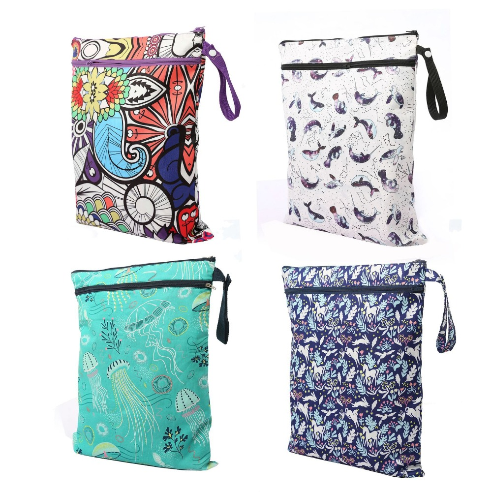 Waterproof Reusable Wet Bag Cartoon Printed Pocket Nappy Bags PUL Travel Wet Dry Bags Size 41*33cm Double Zippers Diaper Bag
