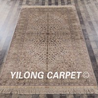 Yilong 5'x8' Handmade Persian Rugs Ivory Antique Turkish Silk Carpet (SL154A5x8)