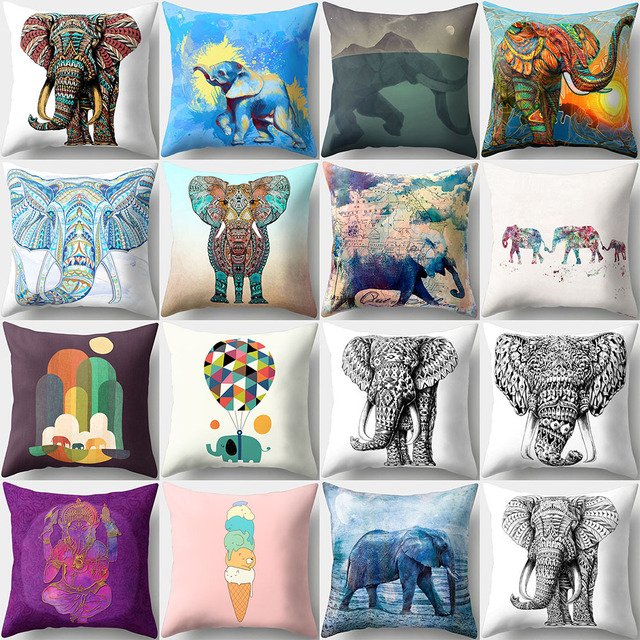 3D Elefante di Stampa Del Fumetto di Cotone di Tela Cuscino Quadrato Della Coper