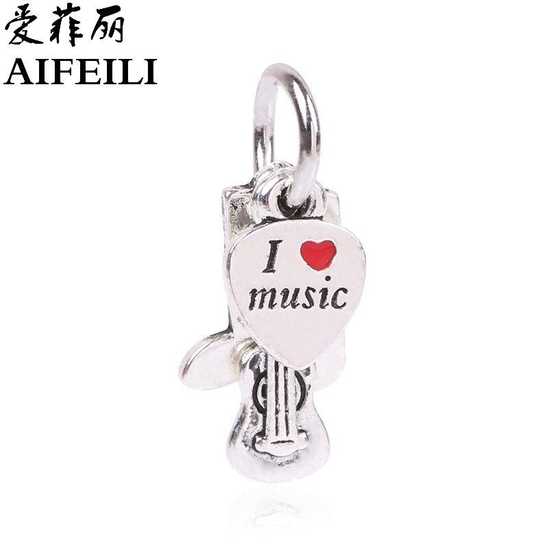AIFEILI Fashion Kralen Jewelry Silver Color I Love Music Beads Charms Fit Pandora Charms Original Women Bracelet Berloque Note