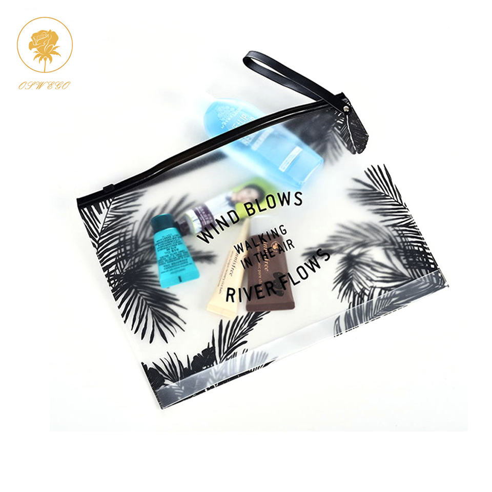 Oswego Tropical Style Cosmetic Bag Transparent Swimwear Makeup Bag Toiletry Brush Bags Organizer Necessary Case Wash Make Up Box fadish transparent cosmetic bag pvc makeup bags travel organizer necessary beauty case toiletry bag wash make up pouch striped