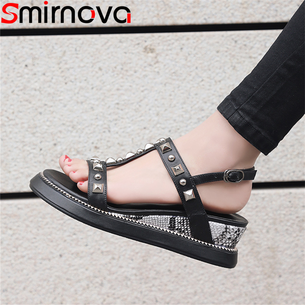 Smirnova big size 33 41 2018 fashion summer new shoes woman platform wedges shoes buckle sandals