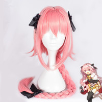 Japanese Anime Fate/Apocrypha Astolfo Wigs FGO Rider Pink Braid Cosplay Costume Wig 1M with 3 Black Bowknot Halloween Party Use