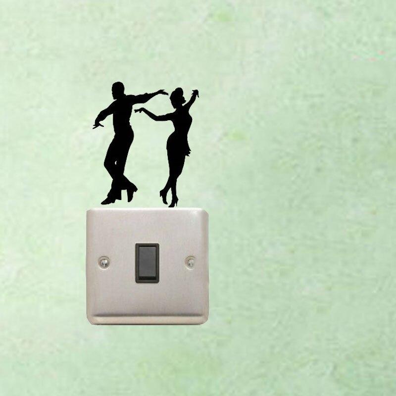 WANGZHIMING Dancers Partners Boy Girl Salsa Tango Latin Dance Switch Sticker Funny Home Decoration Wall Sticker 7SS0188