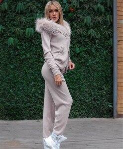 Image 5 - Chándal de punto con cuello de piel para mujer Abrigos con capucha y pantalones elásticos, conjunto de 2 piezas, traje de punto, Otoño Invierno 2020