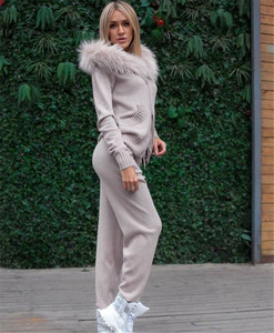 Image 5 - New 2020 Autumn Winter Women Knitted Tracksuit Fur Collar Zipper Hooded Coats+Elastic Casual Pants 2 Pieces Set Women Knit Suit