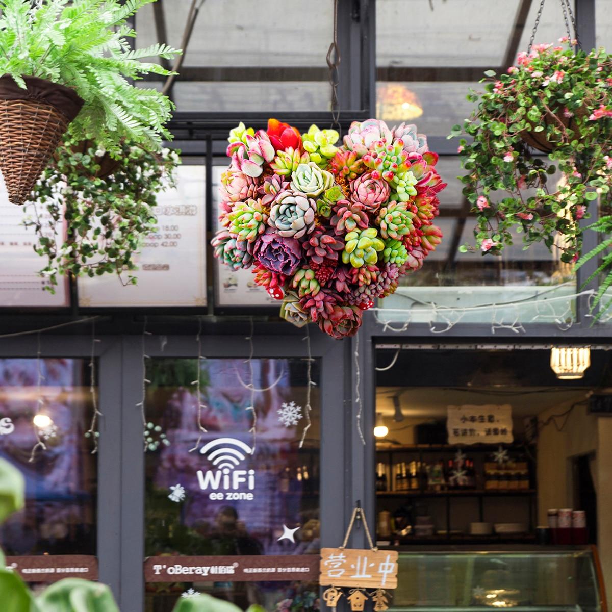 1pcs Metal Heart Shape Hanging Plant Basket Succulent Flower Pot Home Decoration Garden Plant  Flower Basket Mayitr