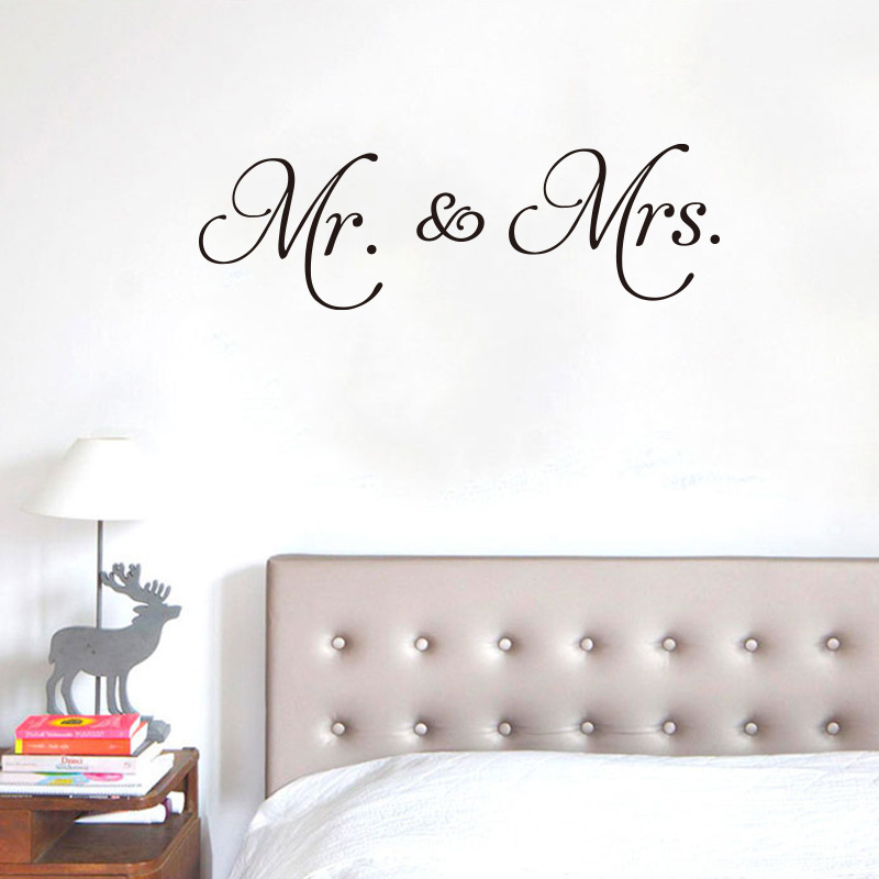 Urijk PVC Mr & Mrs Love Letter Pattern Wall Sticker For Living Room Bedroom Decoration Waterproof Removable Wall Decal For Home