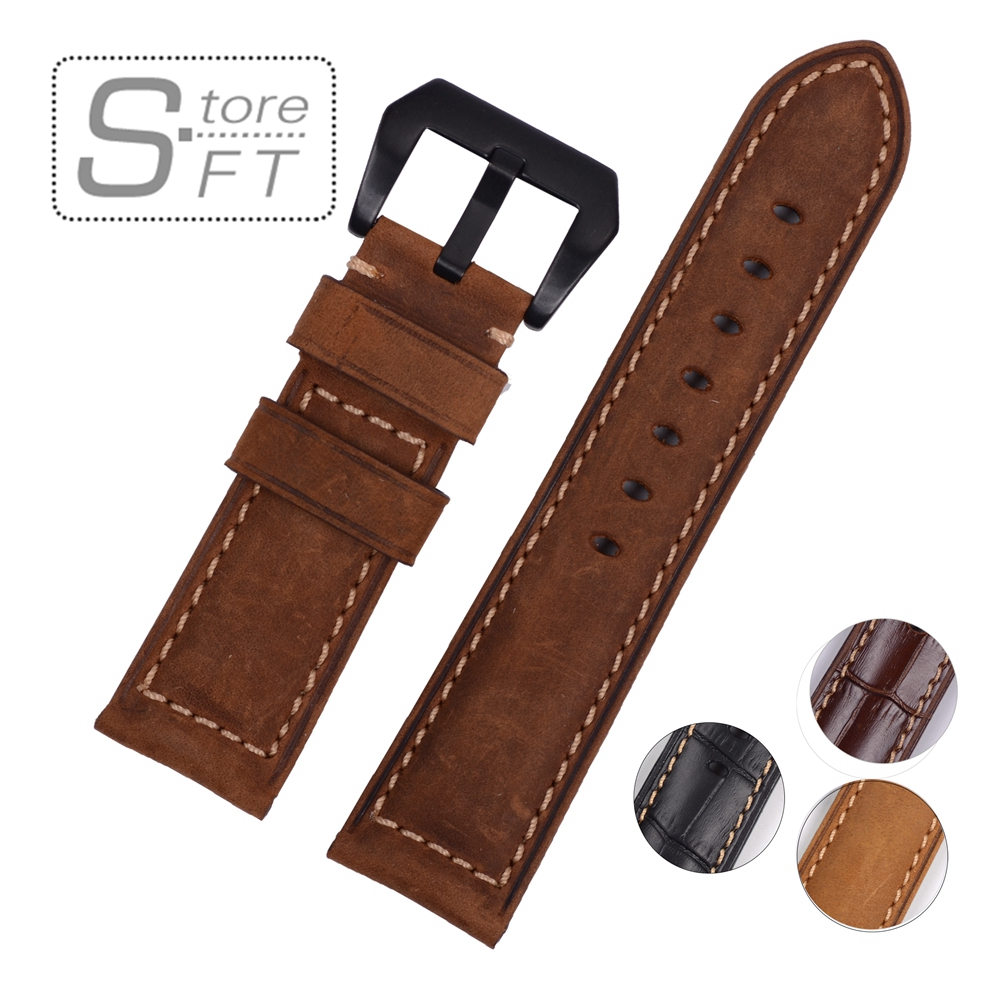 EACHE Fit smart watch bands Vintage Matte Calfskin Leather Band High Qualty Genuine Leather Watchband Watch Strap 22mm 24mm 26mm new matte red gray blue leather watchband 22mm 24mm 26mm retro strap handmade men s watch straps for panerai