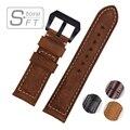 Oferta especial Fosco Cor Couro De Bezerro Alta Qualty Couro Genuíno Do Vintage Pulseira Assista Bracelete 22mm 24mm 26mm