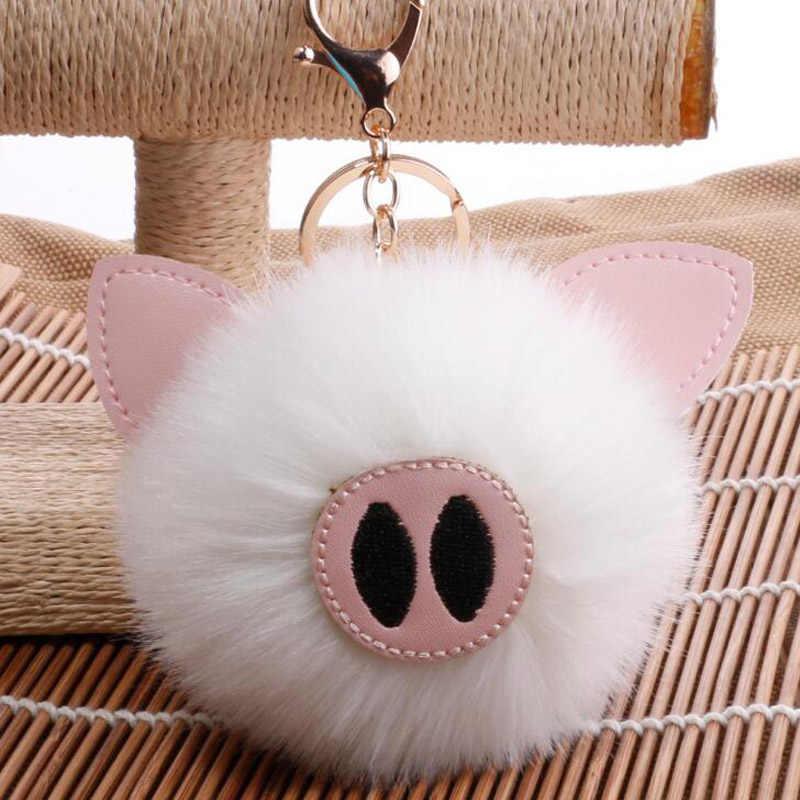 QiYuFang Piggy Bonito Pompom pom pom Coelho Keychain llavero Chaveiro Bola de Pêlo de Coelho Mulheres Pompom Saco Carro Saco de Chaveiro chaveiros