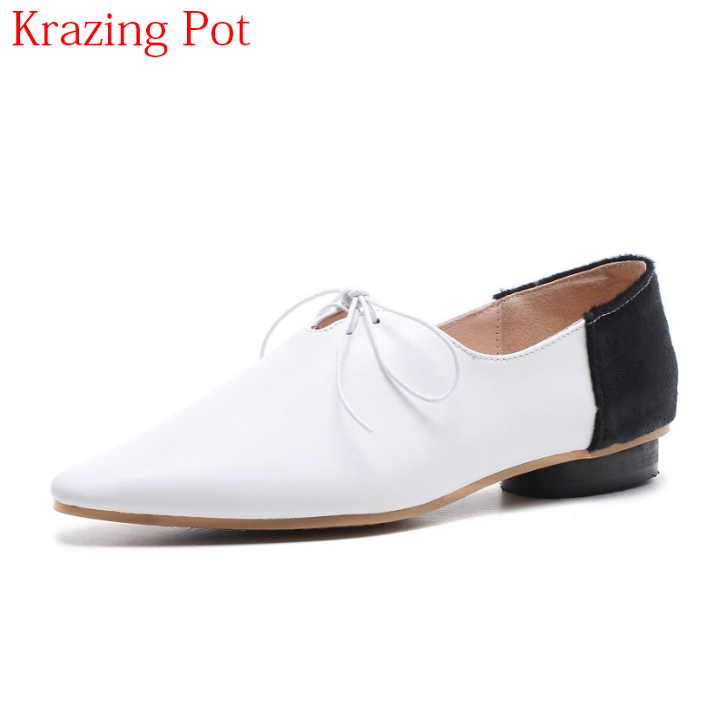 2018 Genuine Leather Lace Up Retro Shoes Thick Heel Women Pumps Classics Mixed Colors High Street Fashion Runway Brand Shoe L4f2 women s genuine leather patchwork lace up pumps brand designer thick high heel spring autumn high quality punk shoes for women