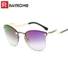 Raybomb градиент без оправы Солнцезащитные очки для женщин Для женщин Брендовая Дизайнерская обувь «кошачий глаз» Розовый зеркальное покрытие дамы Защита от солнца очки Роскошные солнцезащитные очки