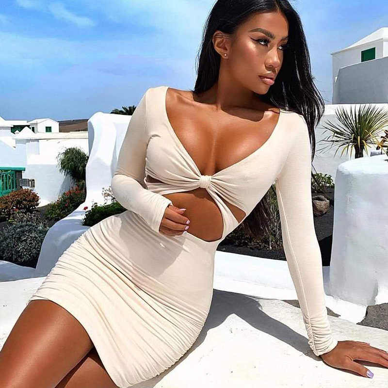 Party Club Tragen Cut Out Langarm Sexy Bodycon Mini Kleider Frauen Damen Party Kleider Kim Kardashian Stil Vestidos Roben