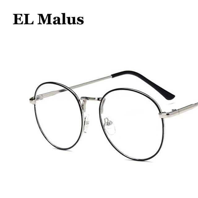 9e218a8a56  EL Malus Oval Eyeglasses Frame Women Mens Clear Transparent Lens Glasses  Metal Black Gold Silver Shades Brand Designer