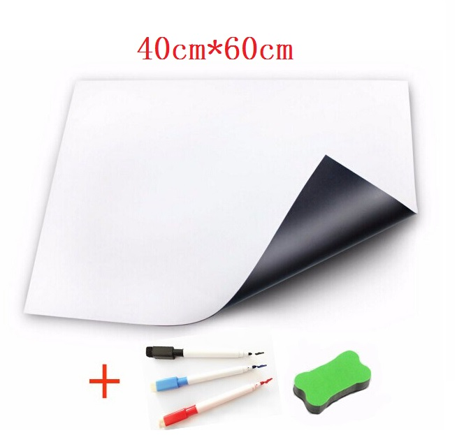 bilder für 40 cm x 60 cm Magnettafel für Kühlschrank Aufkleber Küche Pad Trocken abwischbaren Board Weiß Boards Vinyl Marker Radiergummi Flexible