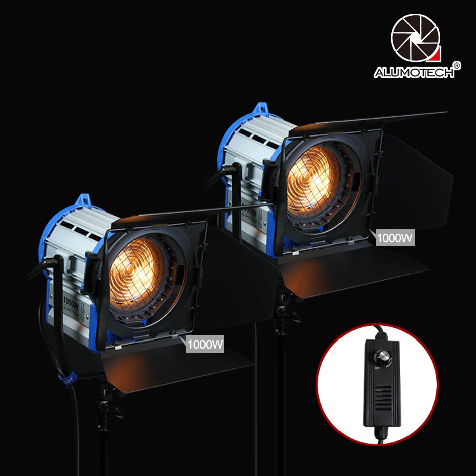 ALUMOTECH Pro As ARRI Dimming 2PCS 1000W Dimmer Built in Fresnel Tungsten Spot Light Bulb For