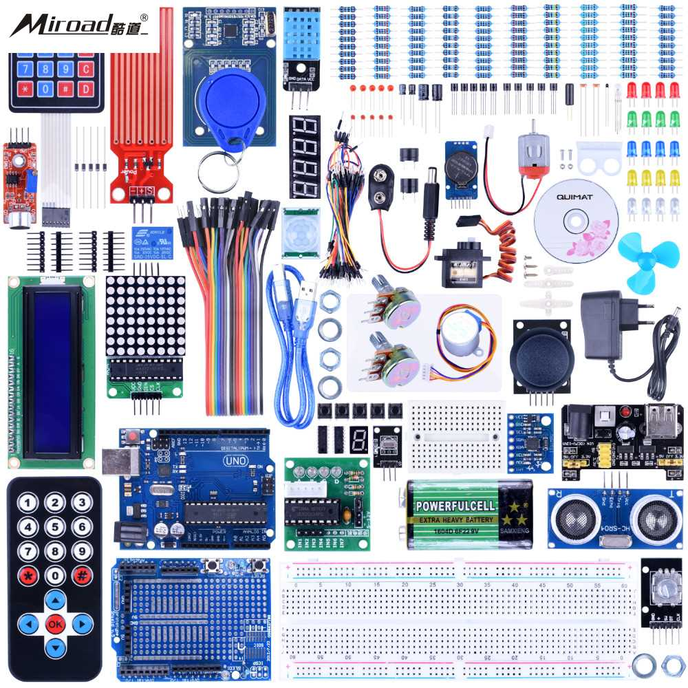 Quimat UNO R3 Project Complete Ultimate Starter Kit for Arduino with Tutorial,UNO R3 Development Board, LCD1602, Servo QK27