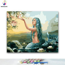 สี DIY paint by numbers Mermaid ทะ(China)