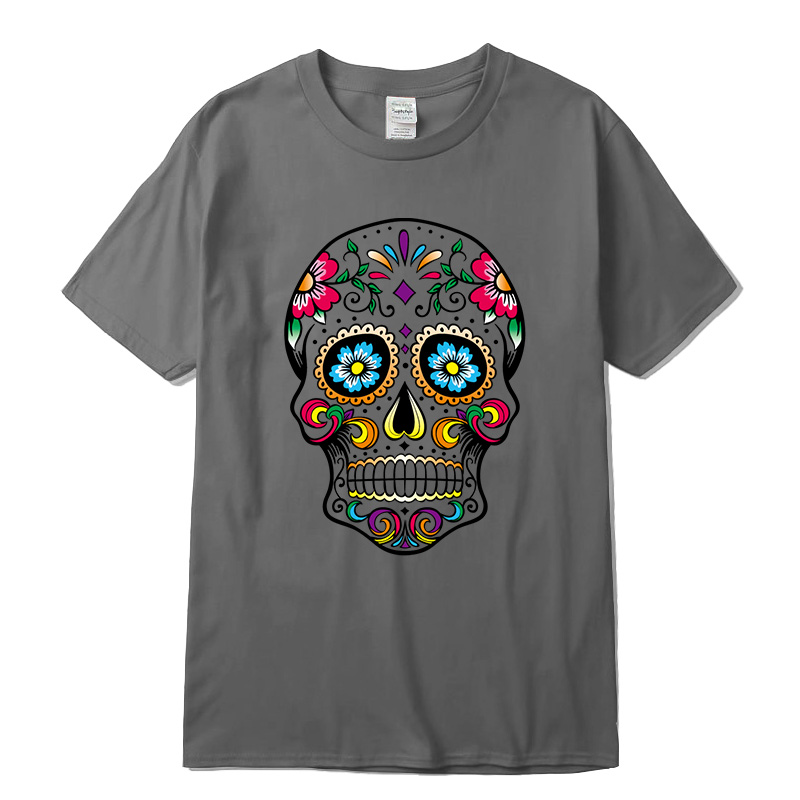 Men's High Quality T-shirt New Design Street Style Loose Cool Skull Printed Men T Shirt Casual Short Sleeve O-neck Loose Cotton