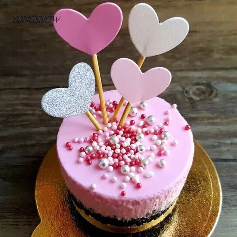 20pcs Lovely Heart Cupcake Toppers Birthday Cakes Topper Picks Kids Birthday Wedding Party Decoration Baby Shower Favors