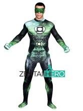 Free Shipping DHL NEW 3D Printing Shade Green Lantern Costume Bodysuit 2016 Male Superhero Halloween Zentai Suit Fancy Dress