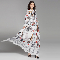High Quality New 2017 Fashion Designer Runway Maxi Dress Women's Long Sleeve Casual Animal Cat Letter Printing Long Dress