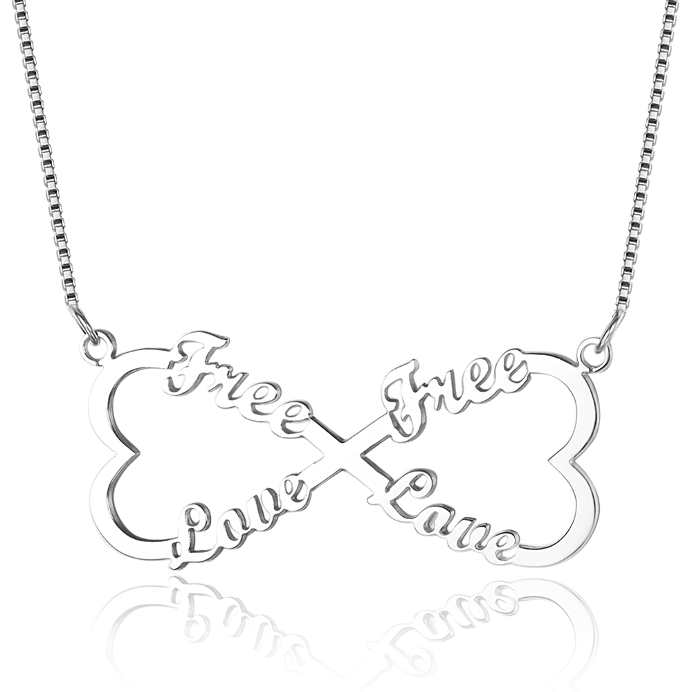 DIY 4 Names Engrave Heart Shape Necklace 925 Sterling Silver Personalized Name Necklace Friendship Birthday Gift